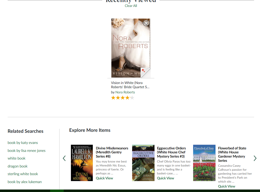 Barnes & Noble related search for Visions in White by Nora Roberts