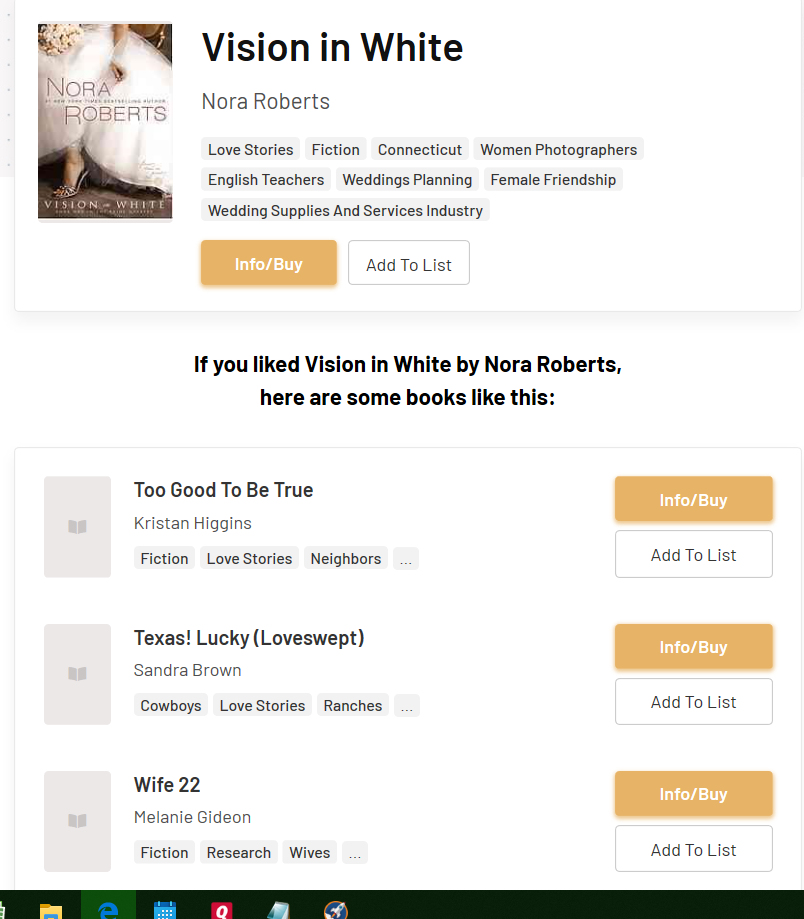 What I Should Read Next recommendations for Visions in White by Nora Roberts