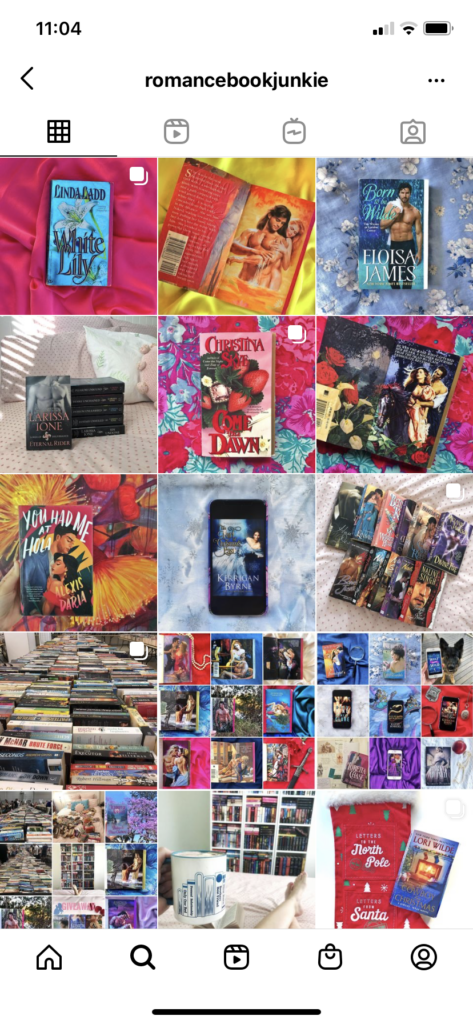 Instagram page for Romance Book Junkie