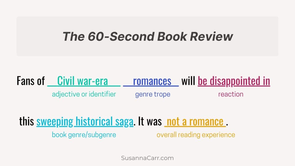 The 60-Second Book Review  Fans of Civil war-era romances will be disappointed in this sweeping historical saga. It was not a romance.