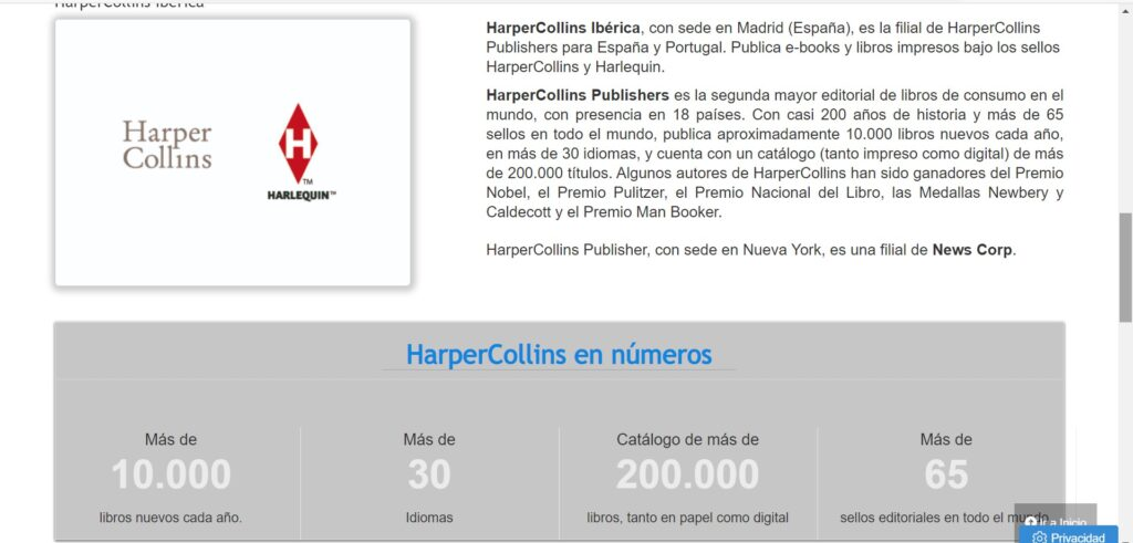 Screen shot of HarperCollins Iberica information found on the homepage