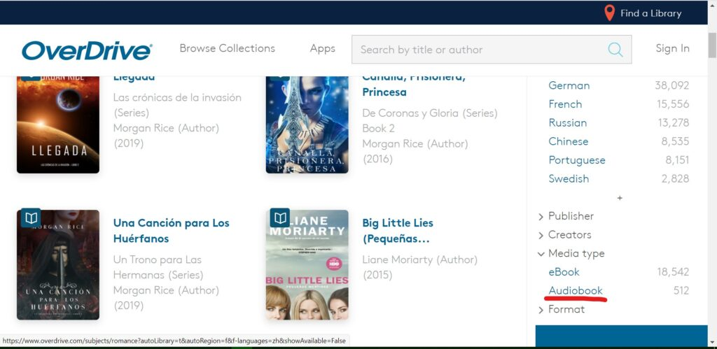 Screen shot of Audiobook option on Overdrive