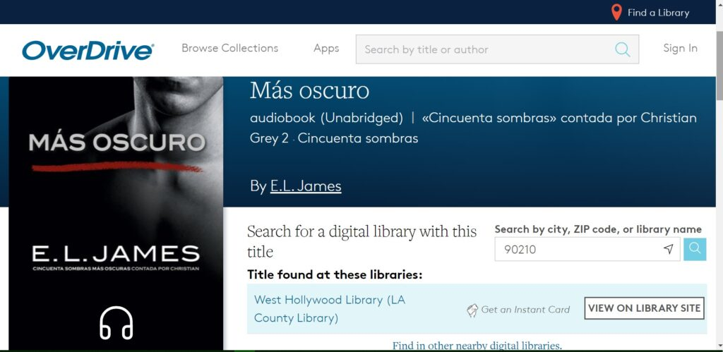 Screen shot of audiobook search result on Overdrive